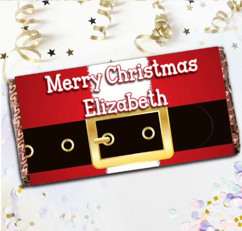 Personalised Merry Christmas Santa Milk Chocolate Bar - Xmas Eve Stocking Filler Gift N43